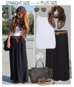 Straight Size to Plus Size - Black Maxi Skirt Outfit - Plus Size Fashion for Women - alexawebb.com