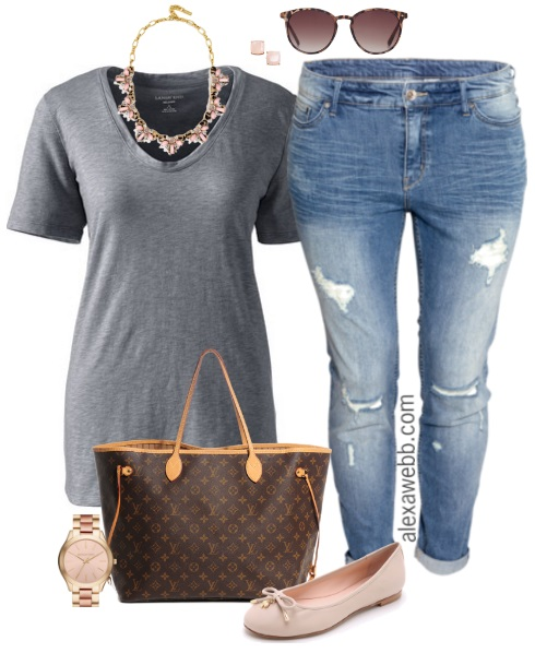 Plus Size Casual Outfit - Plus Size Boyfriend Jeans - Plus Size Fashion for Women - Alexa Webb - alexawebb.com