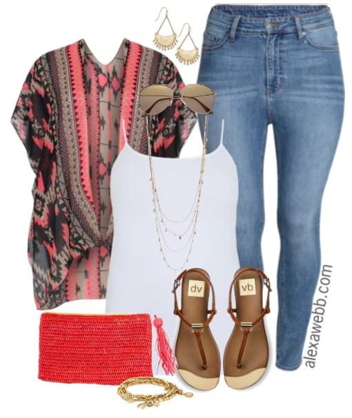 588308b6d8dfd Plus Size Kimono   Jeans - Plus Size Outfit Idea - alexawebb.com