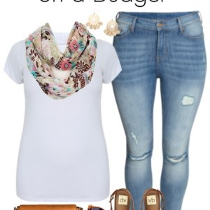 Plus Size on a Budget - Summer Scarf & Skinny Jeans - Plus Size Outfit Idea - Plus Size Fashion - alexawebb.com