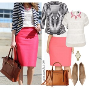 Straight Size To Plus Size – Striped Blazer & Pink Skirt Outfit - Plus Size Fashion - alexawebb.com