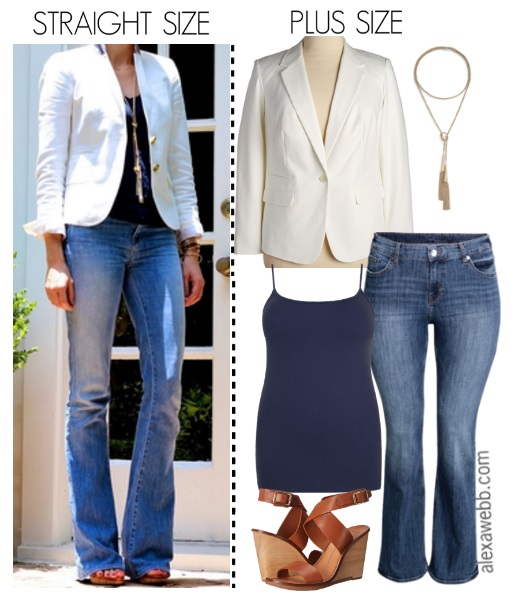 f41200965b Straight Size to Plus Size - White Blazer and Flared Jeans - Plus Size  Outfit Idea