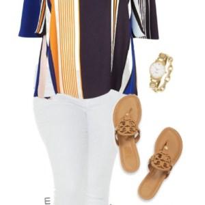Plus Size Stripe Bardot Top Outfit - Plus Size Fashion - alexawebb.com #alexawebb