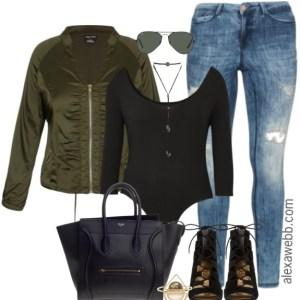 Plus Size Bomber Jacket Outfit - Plus Size Fashion for Women - alexawebb.com #alexawebb