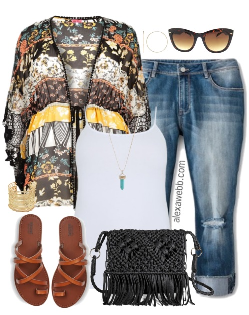 94b1acc53f3fe Plus Size Kimono   Jeans Outfit - Plus Size Fashion for Women - alexawebb .com