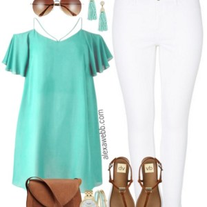 Plus Size Strappy Top & White Jeans Outfit - Plus Size Fashion for Women - alexawebb.com #alexawebb