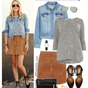 Straight Size to Plus Size - Suede Skirt Outfit - Plus Size Fashion for Women - alexawebb.com #alexawebb