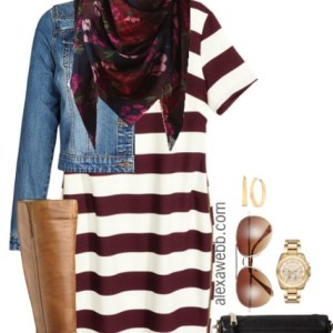 Plus Size Fall Striped Dress Outfit - Plus Size Fashion for Women - alexawebb.com #alexawebb