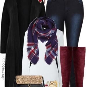 Plus Size Burgundy Boots Outfit - Plus Size Outfit Idea - Plus Size Fashion for Women - alexawebb.com #alexawebb