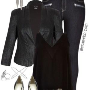 Plus Size Shimmer Jacket Outfit - Plus Size Fashion - alexawebb.com #alexawebb