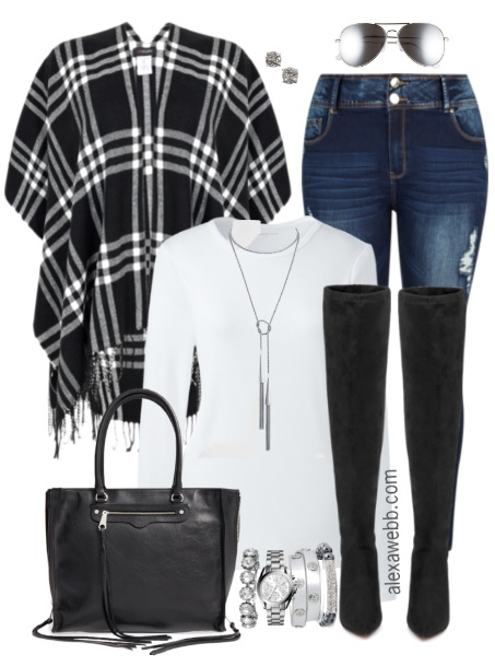 Plus Size Plaid Wrap Outfit - Plus Size Fashion for Women - alexawebb.com #alexawebb