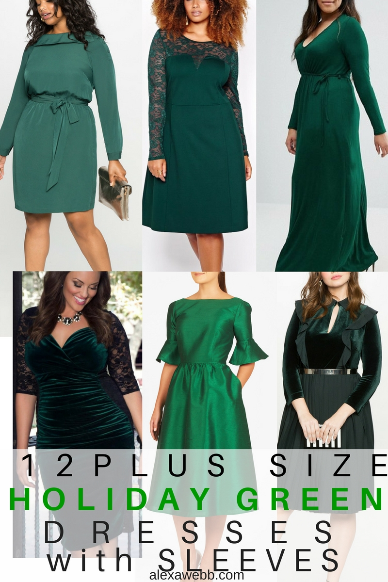 12 Plus Size Holiday Green Dresses {with Sleeves}