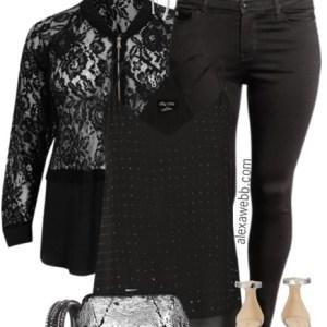 Plus Size Lace Bomber Jacket Outfit - Plus Size Fashion for Women - alexawebb.com #alexawebb