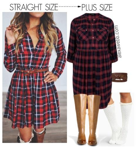 Straight Size to Plus Size - Plaid Dress - Plus Size Fashion for Women - alexawebb.com #alexawebb