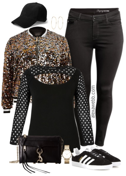 238f0aa47325b Plus Size Sequin Bomber Jacket Outfit - Plus Size Fashion for Women -  alexawebb.com
