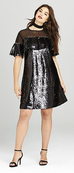 27 Plus Size Sequin Dresses {with Sleeves} - Plus Size New Year's Dresses - Plus Size Fashion for Women - alexawebb.com #alexawebb