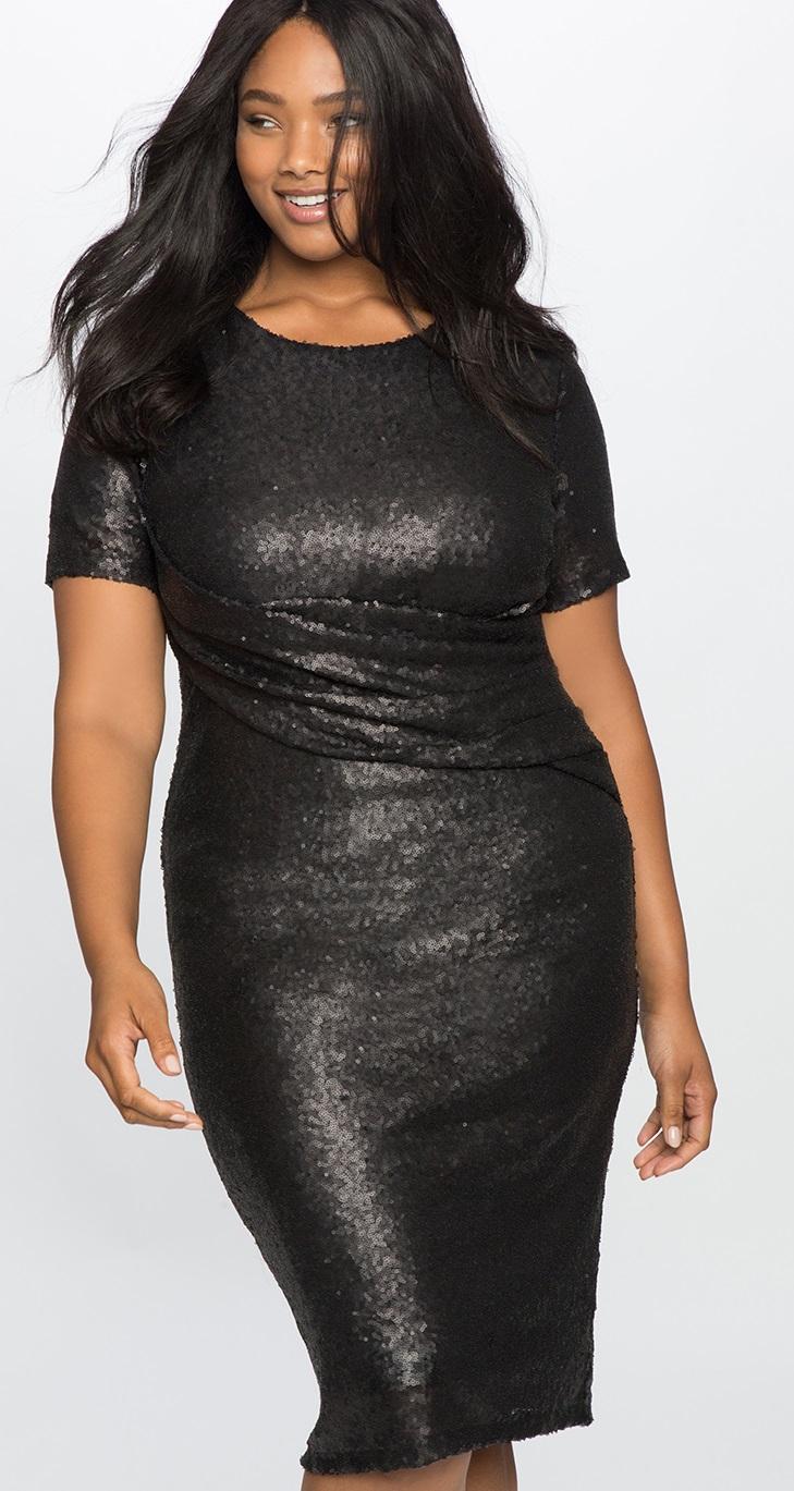 Black sequins dress plus size