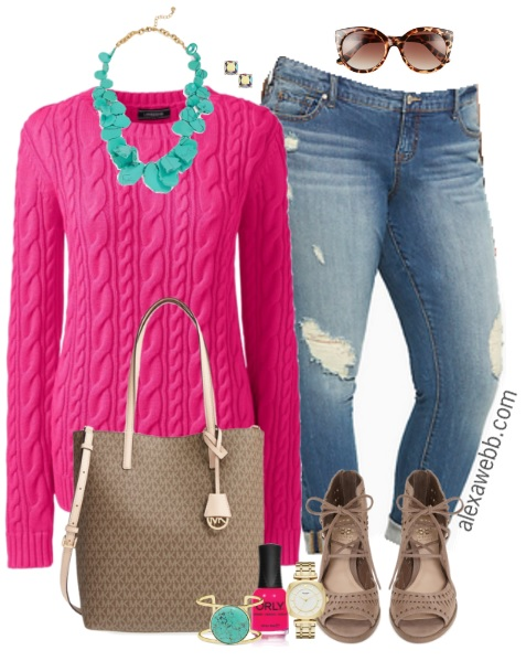 Plus Size Hot Pink Sweater Outfit Alexa Webb