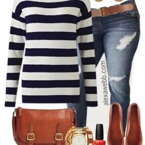 Plus Size Navy Stripe Sweater Outfit - Plus Size Fashion for Women - alexawebb.com #alexawebb