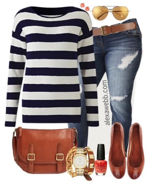 Plus Size Navy Stripe Sweater Outfit   Plus Size Fashion For Women    Alexawebb.com