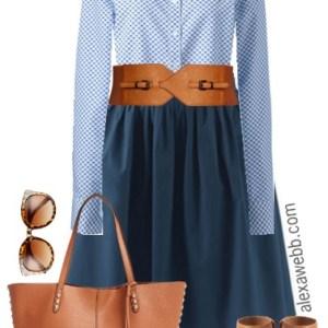 Plus Size Navy Skirt Work Outfit - Plus Size Professional Look - Plus Size Fashion for Women - alexawebb.com #alexawebb