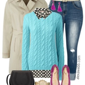 Plus Size Aqua Sweater Outfit - Plus Size Fashion for Women - alexawebb.com #alexawebb