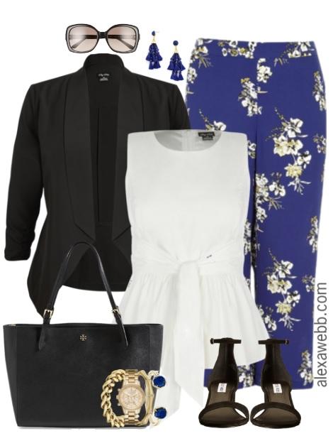 Plus Size Floral Wide Leg Pants Outfit - Plus Size Work Outfit - Plus Size Fashion for Women - alexawebb.com #alexawebb