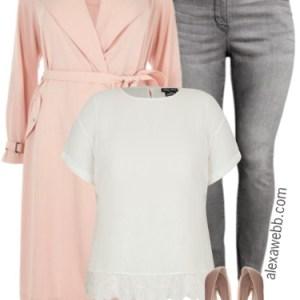 Plus Size Pink Trench Coat Outfit - Plus Size Fashion for Women - alexawebb.com #alexawebb