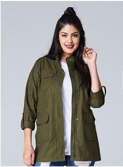 Plus Size Khaki Jacket - Plus Size Fashion for Women - alexawebb.com #alexawebb
