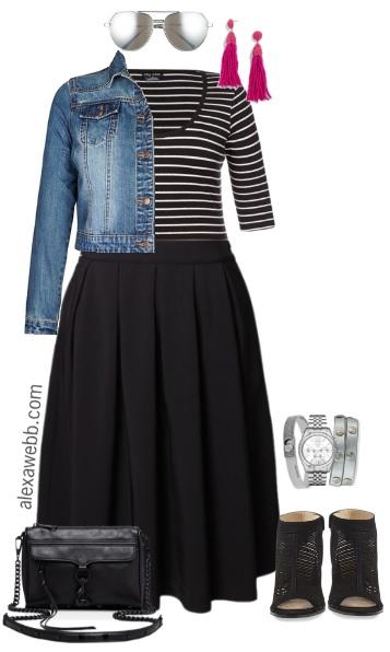 Plus Size Black Midi Skirt Outfit - Plus Size Spring Outfits - Plus Size Fashion for Women - alexawebb.com #alexawebb