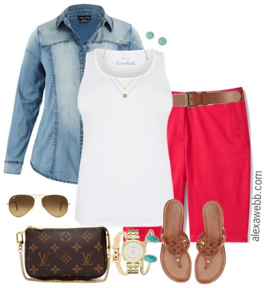 Plus Size Coral Shorts U0026 Denim Shirt Outfit