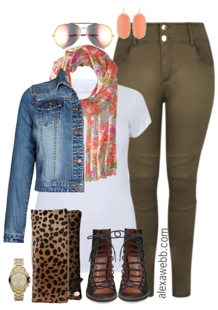 Plus Size Khaki Moto Jeans Outfit - Plus Size Spring Outfit Idea - Plus Size Fashion for Women - alexawebb.com