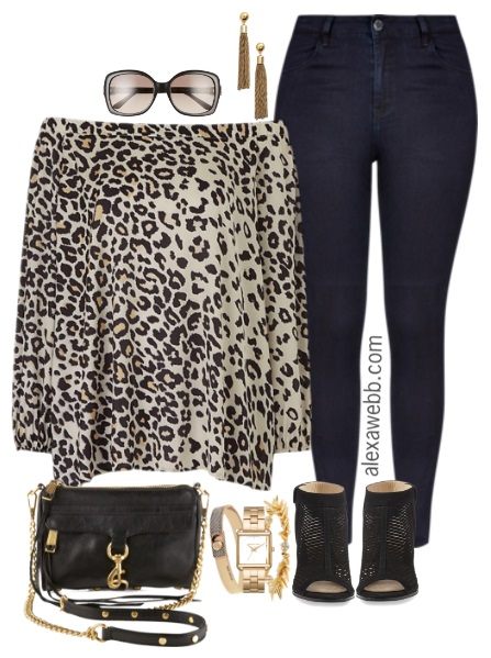 Plus Size Leopard Off-the-Shoulder Blouse Outfit - Plus Size Fashion for Women - alexawebb.com #alexawebb
