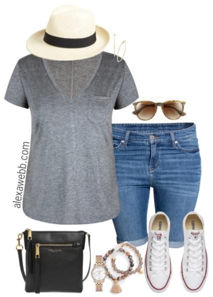 d0ab6a7955c9 Plus Size Summer Shorts Outfit - Plus Size Fashion for Women - alexawebb.com