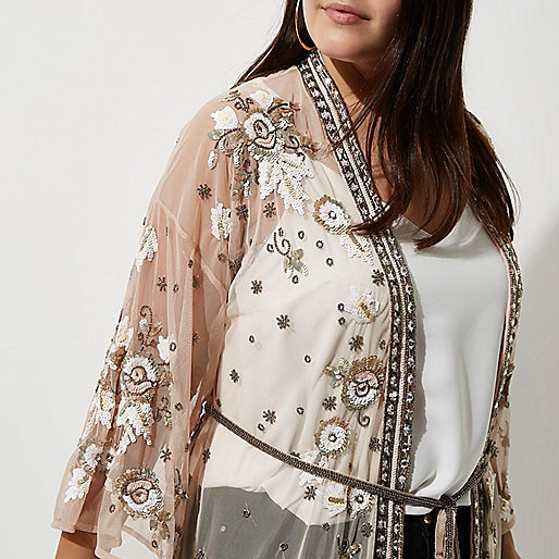 Plus Size Embellished Maxi Kimono - Plus Size Fashion for Women