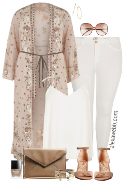 Plus Size Embellished Maxi Kimono Outfit - Plus Size Fashion for Women - Plus Size Summer Outfit Idea - Plus Size White Jeans and Kimono - alexawebb.com