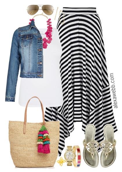 24ea87e449 Plus Size Striped Maxi Skirt Outfit - Plus Size Fashion for Women -  alexawebb.com