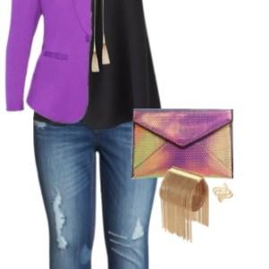 Plus Size Purple Blazer Outfit - Plus Size Fashion for Women - alexawebb.com