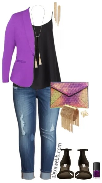 Plus Size Purple Blazer Outfit - Plus Size Fashion for Women - alexawebb.com