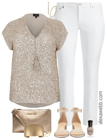 7e50e4a1631 Plus Size Sequin Top Outfit - Plus Size White Jeans - Plus Size Fashion for  Women