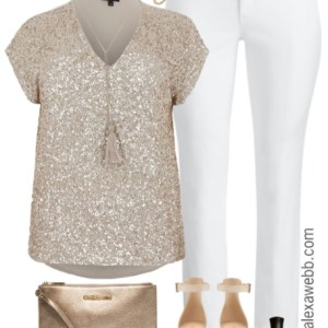 Plus Size Sequin Top Outfit - Plus Size White Jeans - Plus Size Fashion for Women - alexawebb.com #alexawebb
