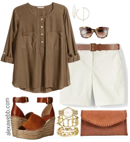 f13e110a41de Plus Size White Shorts Outfit - Plus Size Fashion for Women - alexawebb.com