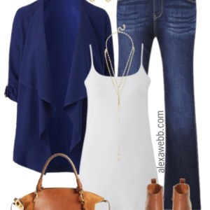 Plus Size Navy Waterfall Blazer Outfit - Plus Size Fashion for Women - alexawebb.com