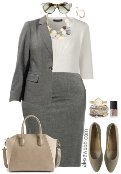 Plus Size Grey Suit Work Outfits