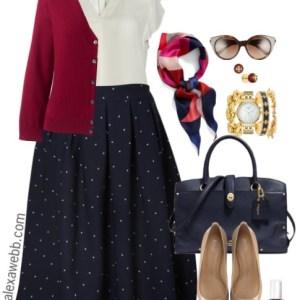 Plus Size Navy Dot Skirt Outfits - Plus Size Fall Work Outfit Ideas - Plus Size Fashion for Women - alexawebb.com #alexawebb
