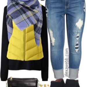Plus Size Yellow Vest Outfit - Plus Size Fall Outfit - Plus Size Fashion for Women - alexawebb.com #alexawebb