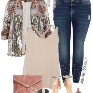 Plus Size Sequin Blazer Outfit - Plus Size New Years Outfit Idea - Plus Size Fashion for Women #plussize #dressedup #nye #outfit #alexawebb
