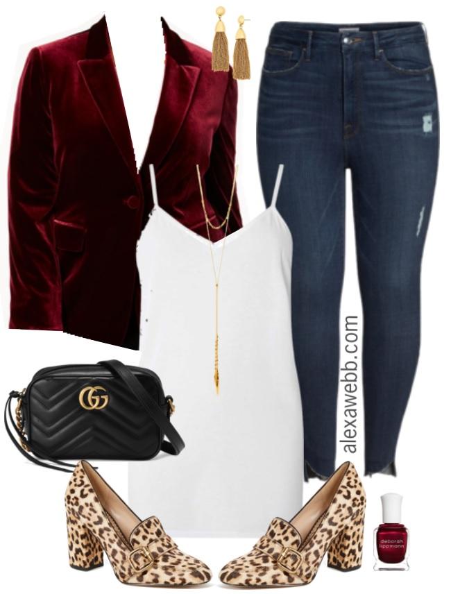 6c0bbf588 Plus Size Velvet Blazer Outfit - Plus Size NYE Outfit Idea - Plus Size  Fashion for