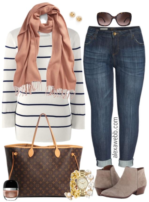 Plus Size Striped Sweater Outfit - Plus Size Fall Outfit Idea - Plus Size Fashion for Women - alexawebb.com #alexawebb #plusszie #plussizefashion