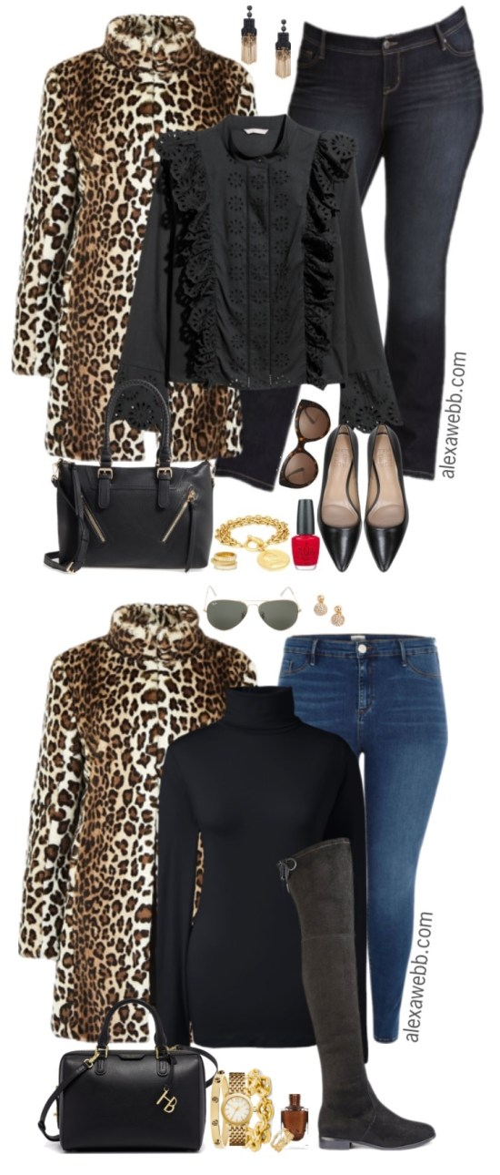 Plus Size Leopard Coat Outfit - Plus Size Winter Outfit Idea - Plus Size Fashion for Women - alexawebb.com #alexawebb #plussize